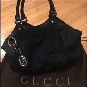 Very good condition Gucci black sukey canvas tote